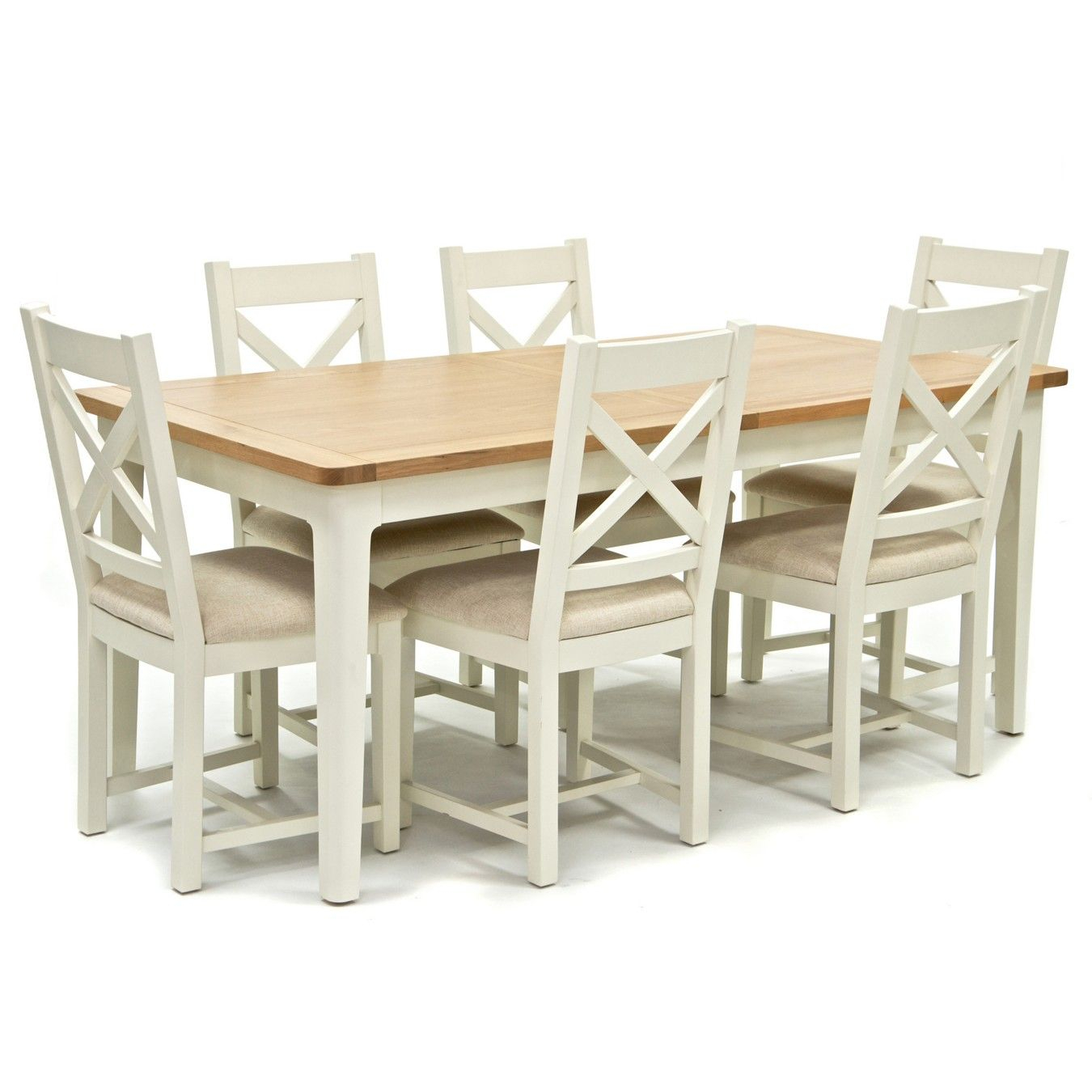 Oak Top 'newquay' Large Extending Dining Table And 6 Cross In Most Current Normandy Extending Dining Tables (View 15 of 25)