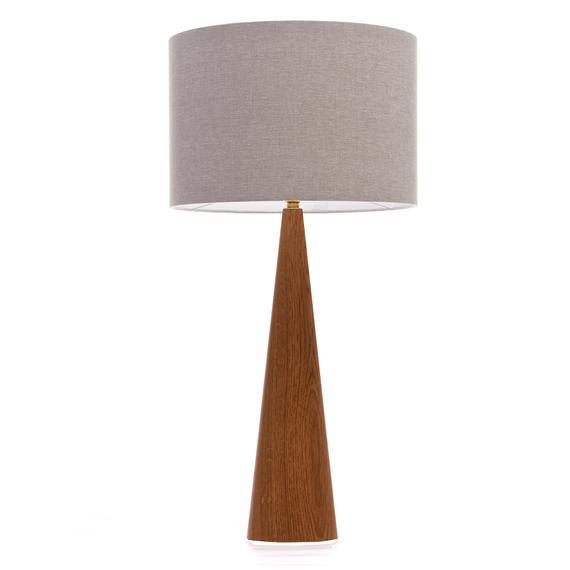 Oak Wood Table Lamp Cone Shape 61Cm Regarding Oakwood Linen Style Decorative Curtain Tier Sets (View 20 of 25)
