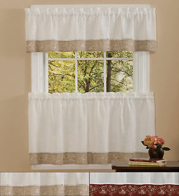 Featured Image of Oakwood Linen Style Decorative Window Curtain Tier Sets