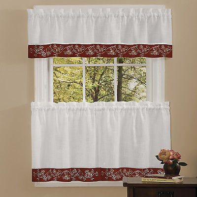 Oakwood Linen Style Kitchen Window Curtains Tiers Or Valance Burgundy | Ebay For Oakwood Linen Style Decorative Curtain Tier Sets (View 2 of 25)