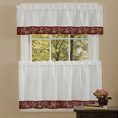 Oakwood Linen Style Kitchen Window Curtains Tiers Or Valance Burgundy | Ebay Pertaining To Oakwood Linen Style Decorative Window Curtain Tier Sets (View 2 of 25)