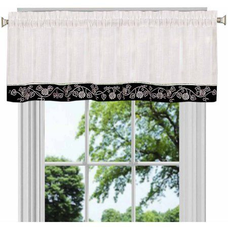 Oakwood Valance Available In Multiple Colors, Black Inside Oakwood Linen Style Decorative Curtain Tier Sets (View 4 of 25)