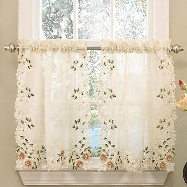 Featured Image of Floral Embroidered Sheer Kitchen Curtain Tiers, Swags And Valances