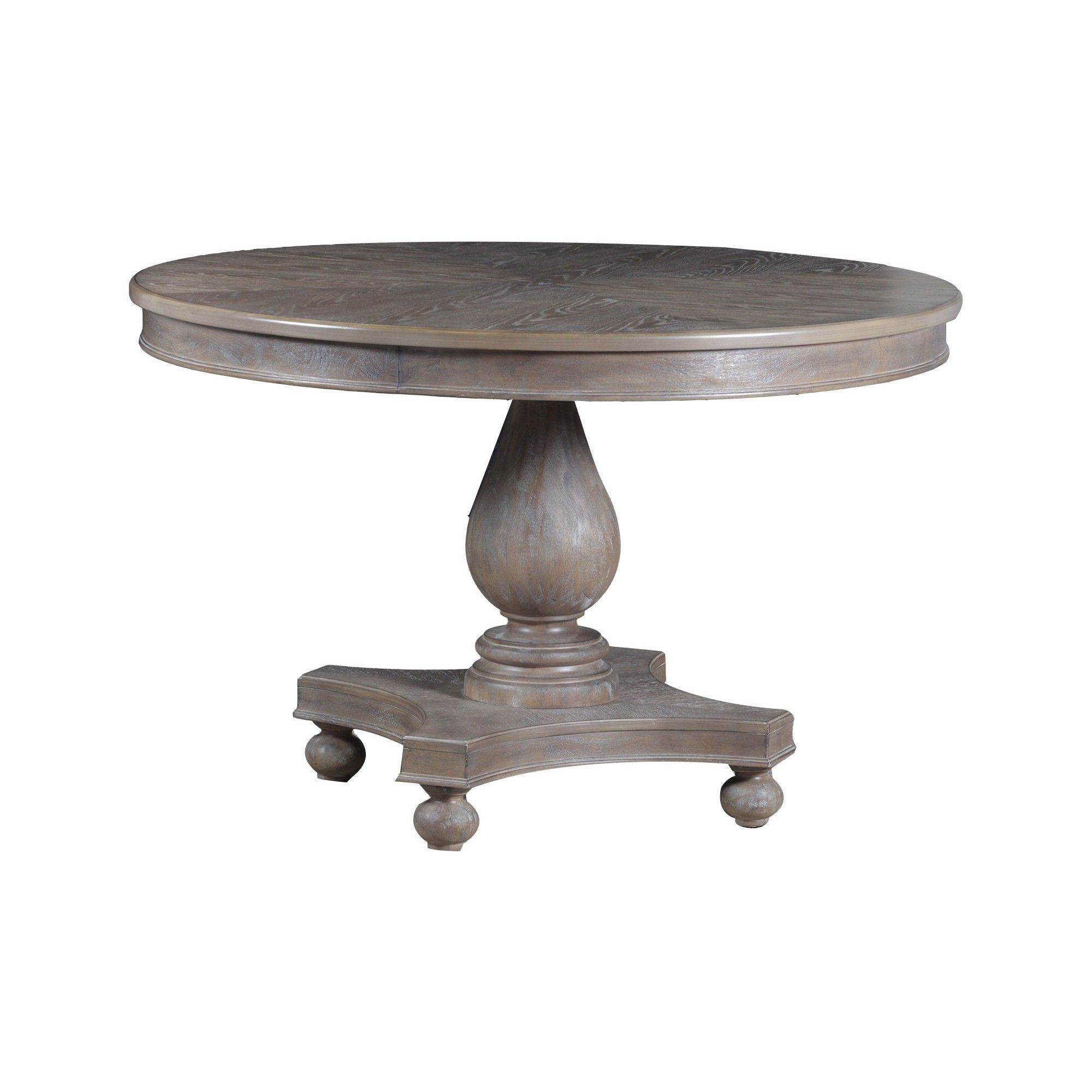 Olivia Round Dining Table – Distressed Gray Wash – Oak With Regard To Newest Rustic Brown Lorraine Pedestal Extending Dining Tables (View 9 of 25)