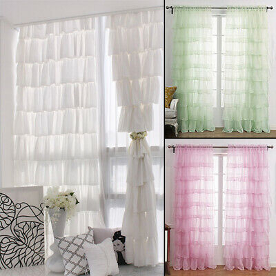 One Panel Crushed Voile Sheer Shabby Chic Ruffle Window For Elegant Crushed Voile Ruffle Window Curtain Pieces (View 5 of 25)