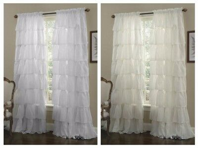 One Panel Crushed Voile Sheer Shabby Chic Ruffle Window Throughout Chic Sheer Voile Vertical Ruffled Window Curtain Tiers (View 10 of 25)