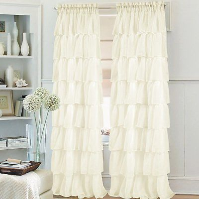 One Pieces Crushed Voile Sheer Gypsy Ruffle Window Curtains/panels Rod Pocket | Ebay Inside Elegant Crushed Voile Ruffle Window Curtain Pieces (View 9 of 25)