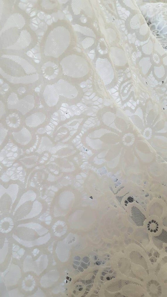 One White Floral Lace Valance – Daisy Curtains – Flower Curtain – Custom Drapery Valances – Elegant Laces – Sheer Panel Semi Sheers Ivy Intended For Floral Watercolor Semi Sheer Rod Pocket Kitchen Curtain Valance And Tiers Sets (View 18 of 25)