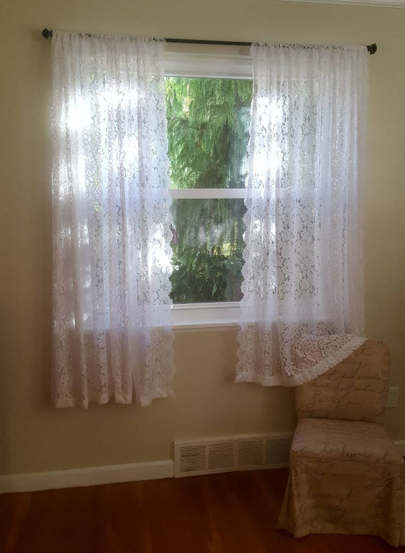 One White Floral Lace Valance Or Curtains – Daisy Curtains – Flower Curtain – Custom Drapery Valances – Elegant Laces – Sheer Kitchen Tiers Inside Floral Lace Rod Pocket Kitchen Curtain Valance And Tiers Sets (View 24 of 25)
