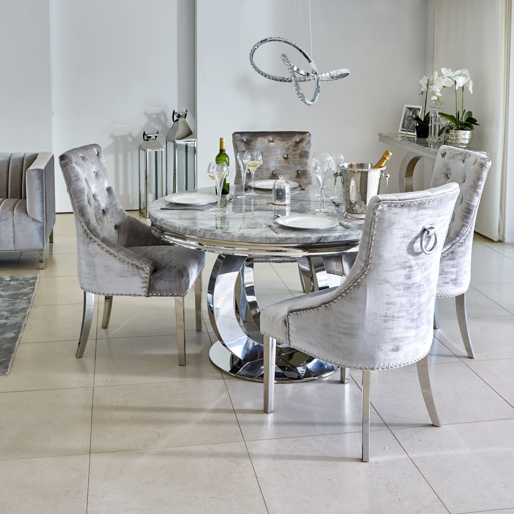 Oracle 130Cm Round Grey Marble Dining Table & 4 Parker Grey In Most Current Chapman Round Marble Dining Tables (View 3 of 25)