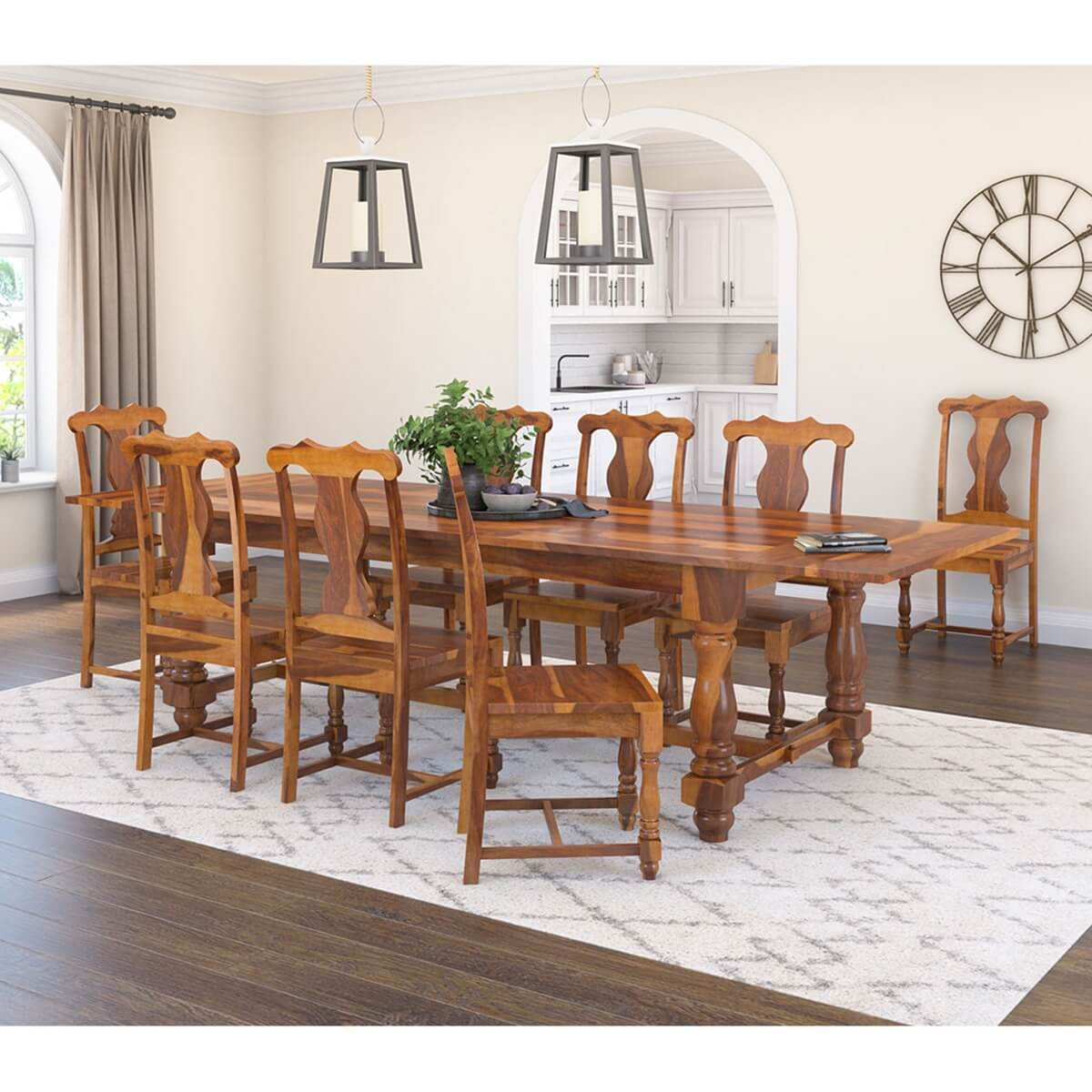 Oroville Rustic Solid Wood Extendable Dining Table Chair Set Furniture With Regard To Best And Newest Rustic Mahogany Extending Dining Tables (View 11 of 25)