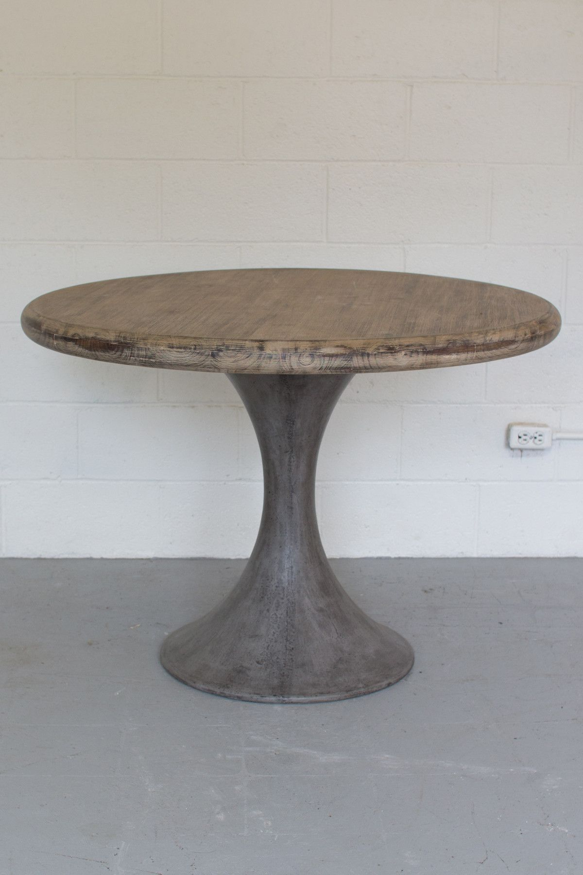 Pairing A Solid Concrete Pedestal Base And Round Acacia Wood Inside 2018 Warner Round Pedestal Dining Tables (View 4 of 25)