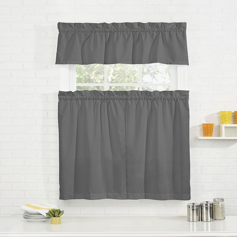 Pairs To Go Cadenza Microfiber Tier & Valance Kitchen Window Throughout Window Curtain Tier And Valance Sets (Image 20 of 25)