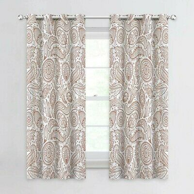Paisley Scroll Printed Linen Curtains, Grommet Top Intended For Pastel Damask Printed Room Darkening Kitchen Tiers (View 18 of 25)