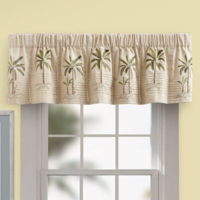 Palm Tree Valance In Ivory – Bedbathandbeyond | Valance For Tree Branch Valance And Tiers Sets (View 4 of 25)