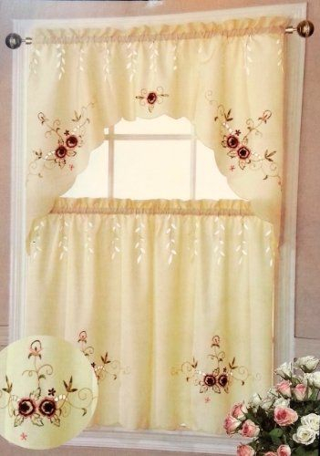 Paradise Kitchen Tiers And Swag 3Pc Curtain Set (Burgundy For Kitchen Burgundy/white Curtain Sets (View 4 of 25)