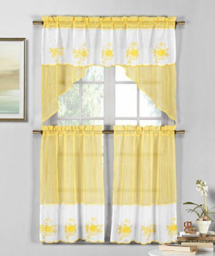 Park Avenue Collection Jade Apple/pear/grape Emb Kitchen Intended For Tree Branch Valance And Tiers Sets (View 7 of 25)