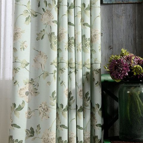 Pastel Peony Green And Cream Floral Curtain   Made To Regarding Pastel Damask Printed Room Darkening Kitchen Tiers (View 17 of 25)