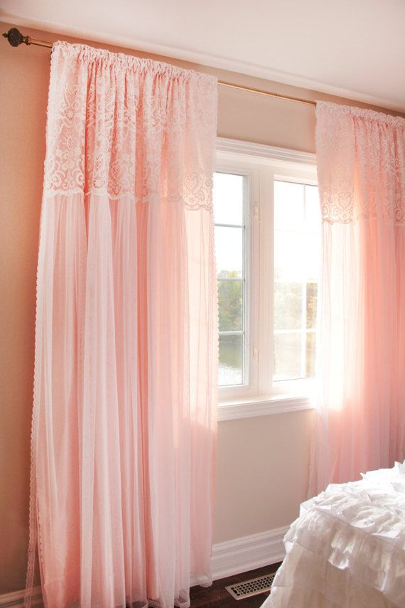 Peach Apricot Pink White Ruffle Embroidery Lace Overlay Within Rod Pocket Cotton Solid Color Ruched Ruffle Kitchen Curtains (View 4 of 25)