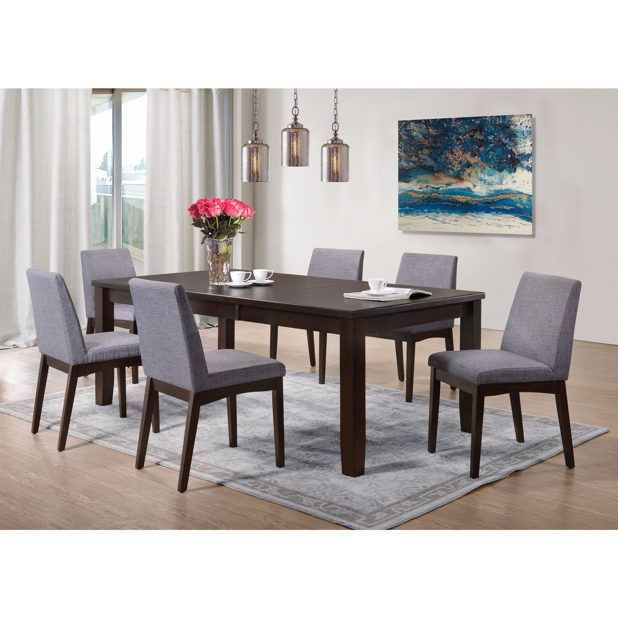 Picket House Furnishings Pyke 7Pc Dining Set Table & 6 Dining Chairs Pertaining To Most Popular Ingred Extending Dining Tables (View 16 of 25)