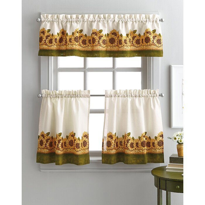 Pierceton Sunflower Graden 3 Piece Kitchen Curtains For Traditional Tailored Window Curtains With Embroidered Yellow Sunflowers (View 20 of 25)