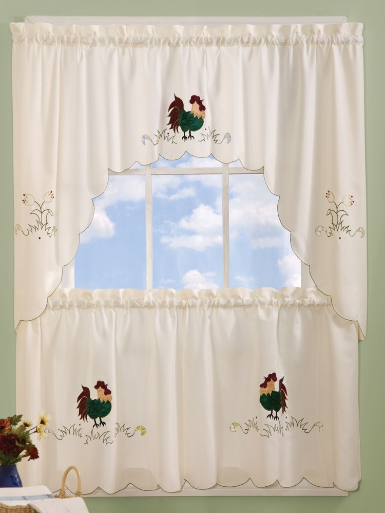 Pin Di Cock A Doodle Dooooo With Spring Daisy Tiered Curtain 3 Piece Sets (Image 14 of 25)