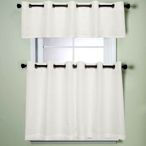 Featured Image of Modern Subtle Texture Solid White Kitchen Curtain Parts With Grommets Tier And Valance Options