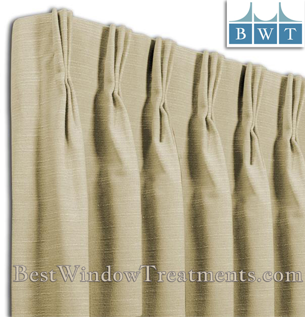 Pinch Pleat Custom Drapery Panel Single Width (Com)   Bestwindowtreatments Pertaining To Pleated Curtain Tiers (View 13 of 25)