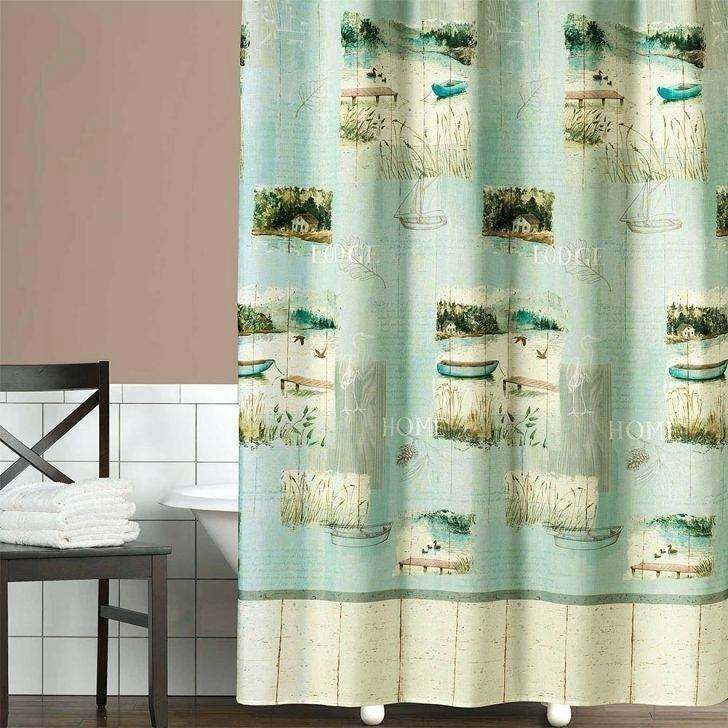 Pine Cone Shower Curtain – Trackidz With Regard To Tree Branch Valance And Tiers Sets (View 21 of 25)