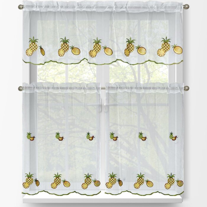 Pineapple 3 Piece Embroidered Kitchen Tier And Valance Set With Regard To Window Curtain Tier And Valance Sets (Image 21 of 25)