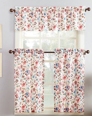 Pink Blue Beige Floral Cafe Kitchen Curtains Set Tiers Valance Window Treatment | Ebay Inside Floral Lace Rod Pocket Kitchen Curtain Valance And Tiers Sets (View 16 of 25)