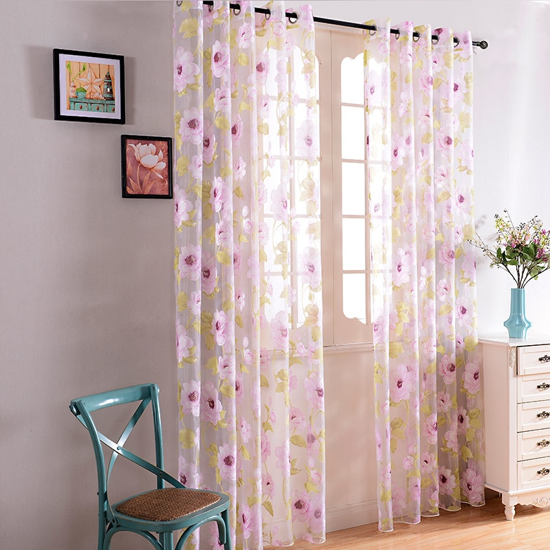 Pink Floral Sheer Curtains For Living Room Bedroom Elegant Modern Living Room Curtains Window Tulle Voile Curtain Home Textile Pertaining To Elegant Crushed Voile Ruffle Window Curtain Pieces (View 10 of 25)