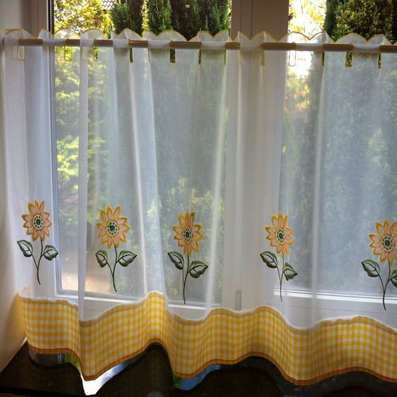 Pinm A D D I E On L I F E I S G O O D | Sunflower In Traditional Tailored Window Curtains With Embroidered Yellow Sunflowers (View 24 of 25)