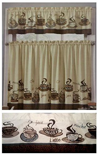 Pinsandy Brown On Sb 63 In 2019 | Coffee Theme Kitchen With Regard To Coffee Drinks Embroidered Window Valances And Tiers (View 5 of 25)