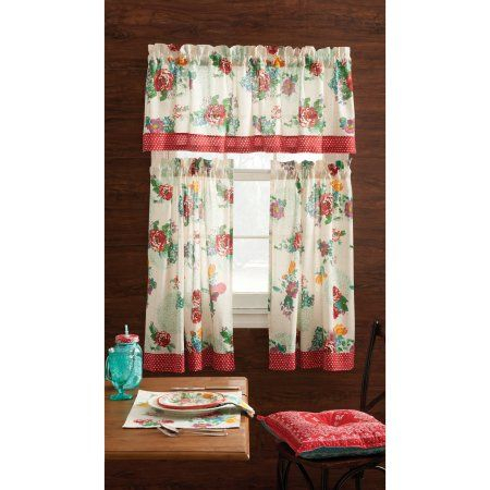 Pioneer Woman Tablecloth Turned Into Curtains | Pioneer Intended For Spring Daisy Tiered Curtain 3 Piece Sets (Image 16 of 25)