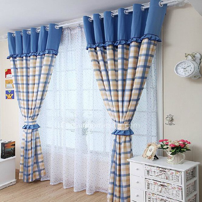 Plaid Blue And Yellow Living Room Curtains Photos In 2019 Within Cotton Blend Classic Checkered Decorative Window Curtains (View 7 of 25)