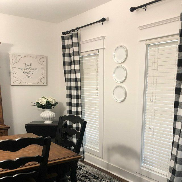 Plaid Buffalo Check Curtains Black And White Curtain Panels Country Decor Throughout Barnyard Buffalo Check Rooster Window Valances (Image 24 of 25)