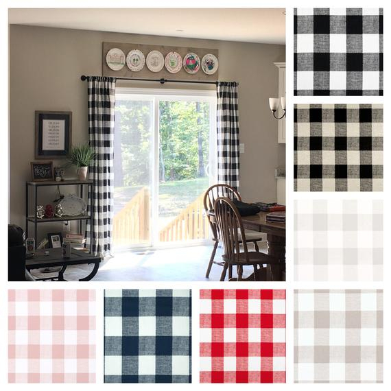 Plaid Curtains Buffalo Check Window Treatments Navy Black Red Tan Gray Curtain Panels Drapery Panels Window Shade Drapes Regarding Classic Navy Cotton Blend Buffalo Check Kitchen Curtain Sets (View 24 of 25)