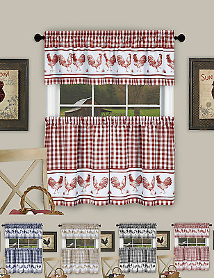 Plaid Rooster Kitchen Curtain Tier & Valance Set – Assorted Colors & Sizes | Ebay With Chateau Wines Cottage Kitchen Curtain Tier And Valance Sets (View 20 of 25)