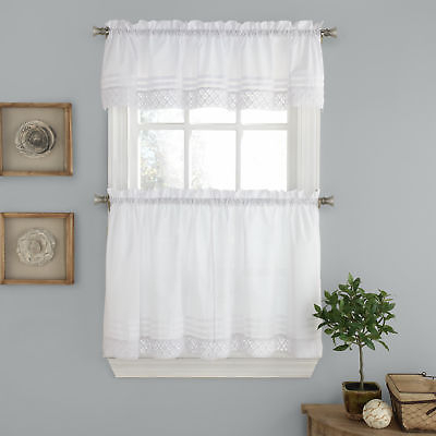 Pleated Crochet Kitchen Window Curtain Tier Pair Or Valance White | Ebay In Tailored Valance And Tier Curtains (View 2 of 25)