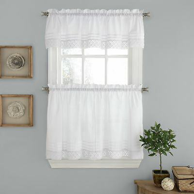 Pleated Crochet Kitchen Window Curtain Tier Pair Or Valance With Pintuck Kitchen Window Tiers (View 8 of 25)