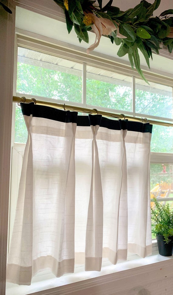 Pleated Solid Cotton Linen (Look) Texture Cafe Curtains , Tier Curtains, Kitchen Curtains, Bathroom Curtains , Window Treatments, Farmhouse For Pleated Curtain Tiers (View 22 of 25)