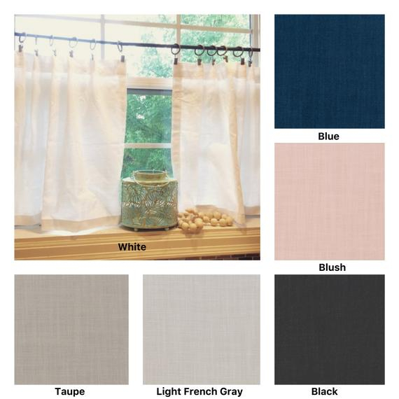 Pleated Solid Cotton Linen (Look) Texture Cafe Curtains , Tier Curtains, Kitchen Curtains, Bathroom Curtains , Window Treatments, Farmhouse Regarding Pleated Curtain Tiers (View 10 of 25)