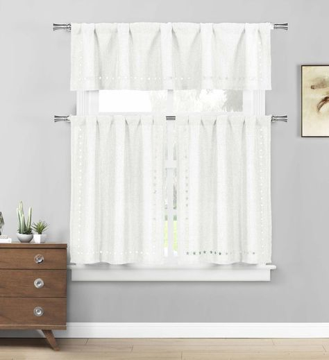 Polycotton Floral Vine Kitchen Curtain Drape Tier & Valance Pertaining To White Tone On Tone Raised Microcheck Semisheer Window Curtain Pieces (Image 15 of 25)