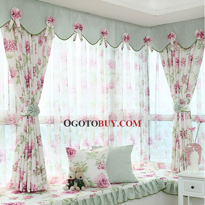 Polyester Purple Floral Pattern Privacy Bay Window Curtain Intended For Floral Pattern Window Valances (View 18 of 25)