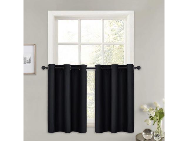 "Pony Dance Kitchen Curtain Tiers – (42"" W X 36"" L, Black, 2 Pieces) Drapes Panel Set Blinds Grommet Top Window Treatments Black Out Curtain Valances Intended For Kitchen Curtain Tiers (View 7 of 25)"