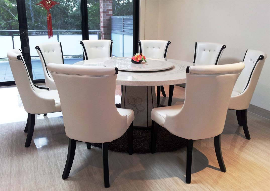 Postchapman : Beautiful Round Dining Table For 8 White Intended For 2017 Chapman Round Marble Dining Tables (View 13 of 25)