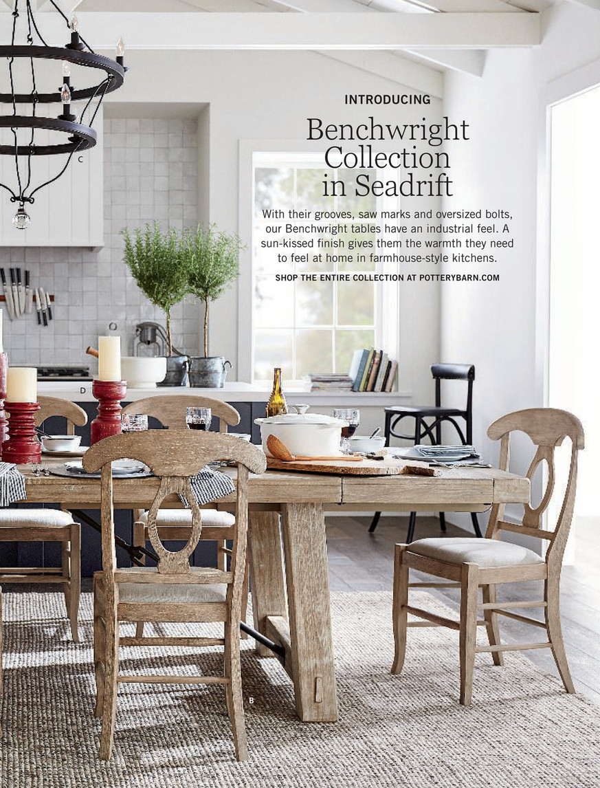 Pottery Barn – Fall 2017 D2 – Neena Patchwork Cotton Sham Throughout Most Recent Gray Wash Benchwright Dining Tables (View 8 of 25)