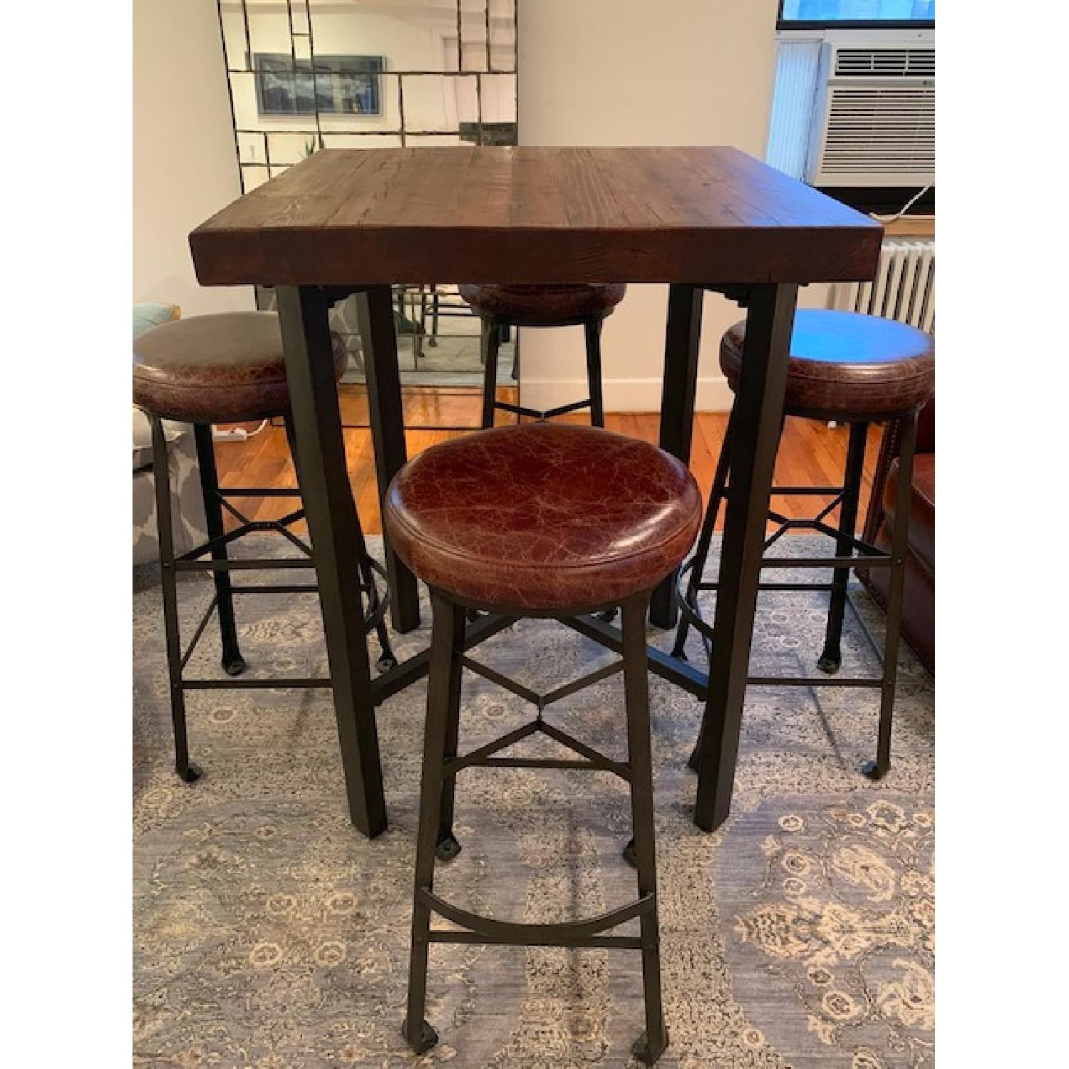 Pottery Barn Griffin Bar Table W/ 4 Stools – Aptdeco Inside Recent Griffin Reclaimed Wood Dining Tables (View 21 of 25)