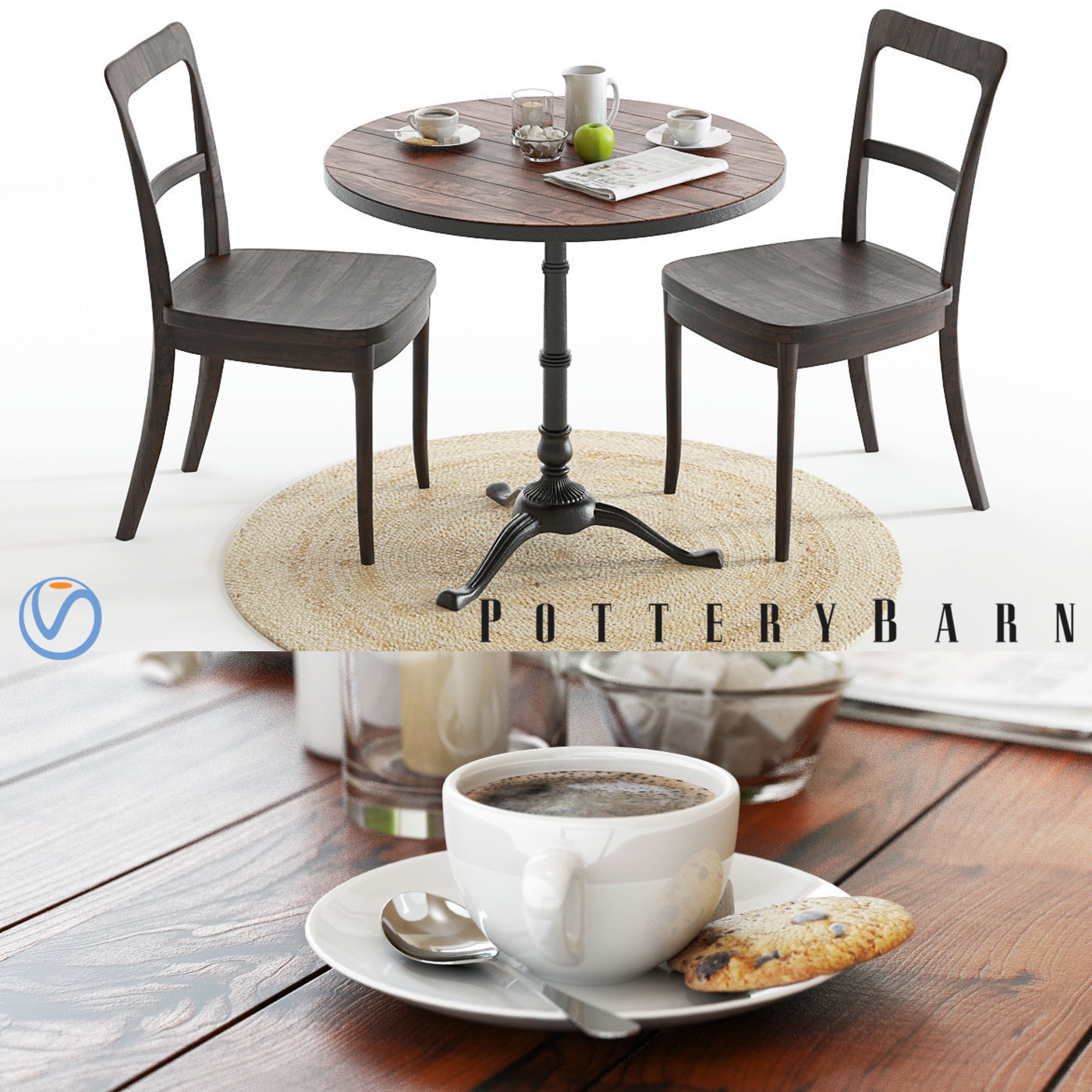 Pottery Barn Rae And Cline Set | 3D Model For Newest Rae Round Marble Bistro Tables (View 13 of 25)